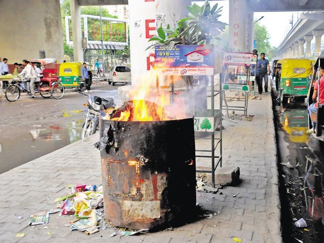 Burning waste