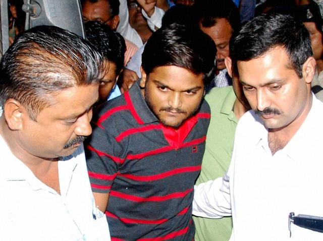 Hardik Patel being produced in Fast Track Court in Surat.