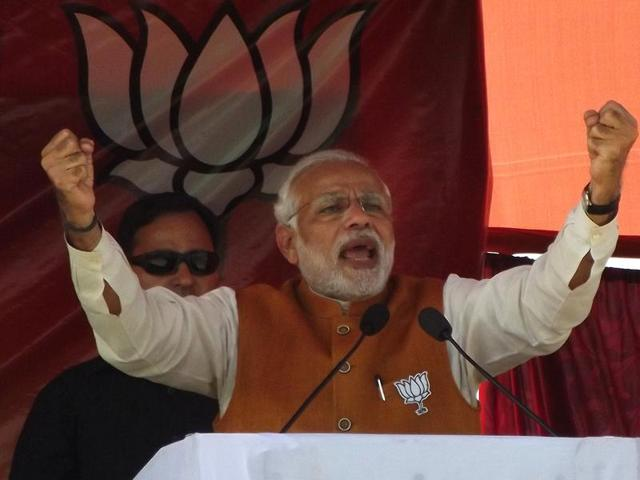 Prime Minister Narendra Modi during an election rally at Madhubani in Bihar.(HT Photo)