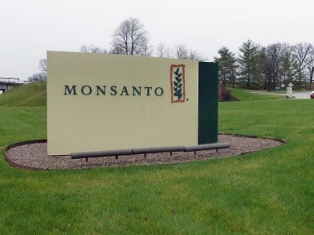 The entrance sign is seen at the headquarters of Monsanto, at Creve Coeur (St. Louis), Missouri.
