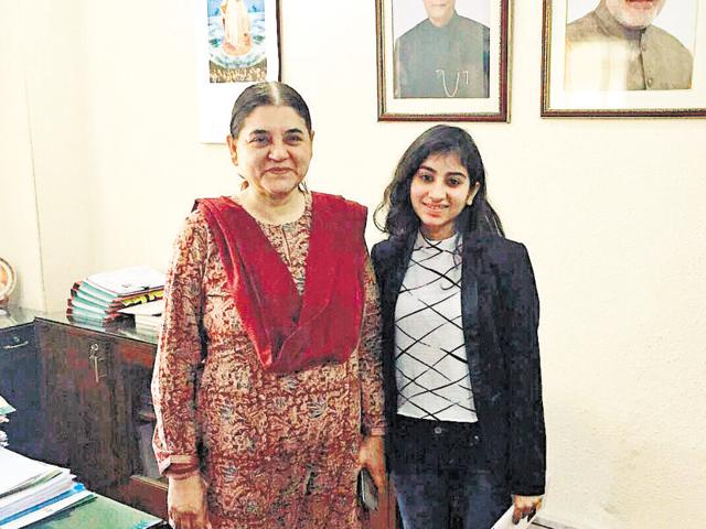 Yashna Batra presented the first copy of her book to Union minister Maneka Gandhi last month.