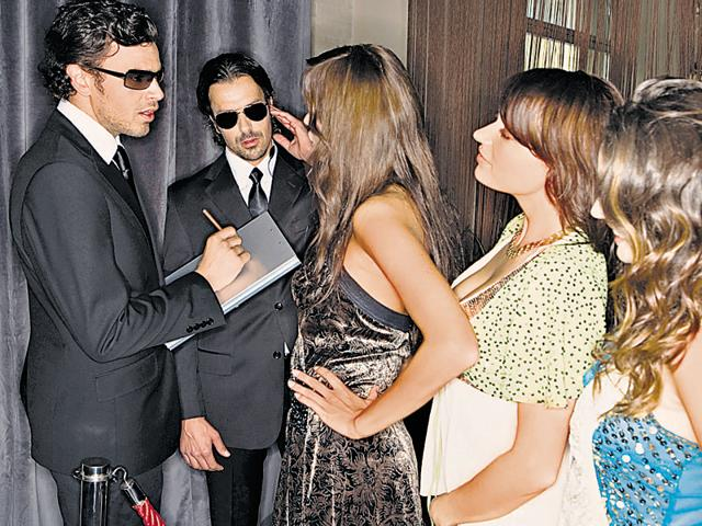 Women waiting to get into nightclub