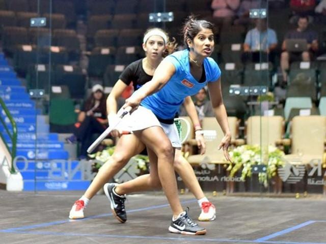 Joshna took out a fighting Yathreb Adel of Egypt in straight games 16-14, 11-8, 11-8.