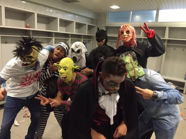 FC Barcelona players dressed up Halloween after the team's 2-0 away win over Getafe on October 31, 2015.