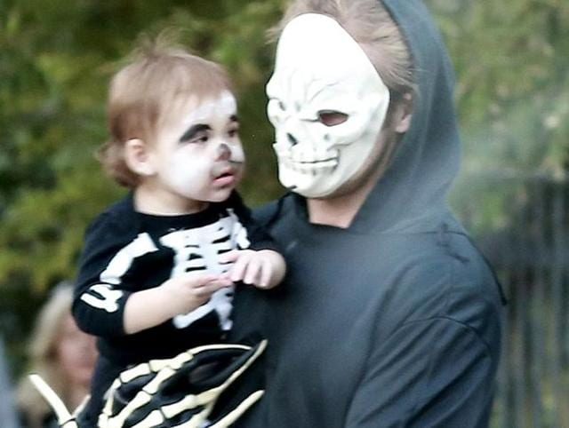 Esmeralda with Ryan Gosling as they celebrate Halloween.