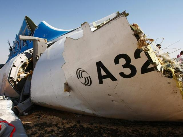 A handout picture taken on November 1, 2015 and released on November 3, 2015 by Russia's emergency ministry shows the wreckage of a A321 Russian airliner in Wadi al-Zolomat, a mountainous area of Egypt's Sinai Peninsula.