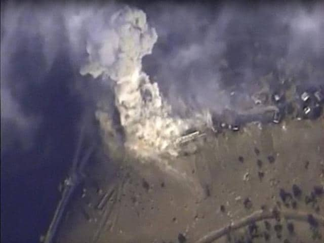 Russian defence ministry : This photo made from the footage taken from Russian defence ministry official web site on Monday, Nov 2, 2015 shows a target hit during Russian air raid in Syria.