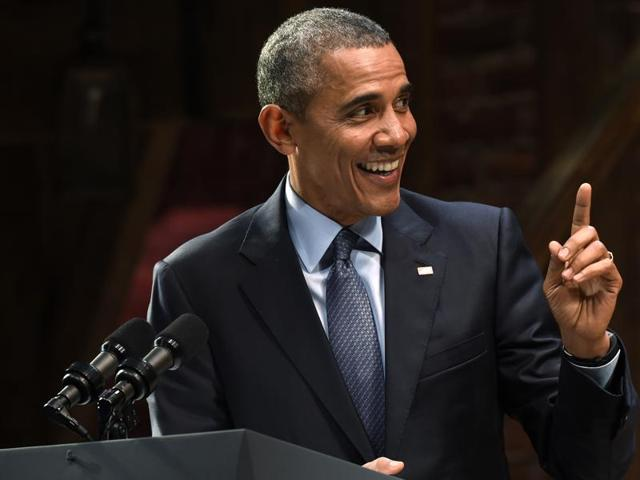 USPresident Barack Obama speaks at the Richard Rodgers Theatre in New York, at a Democratic National Committee fundraiser.