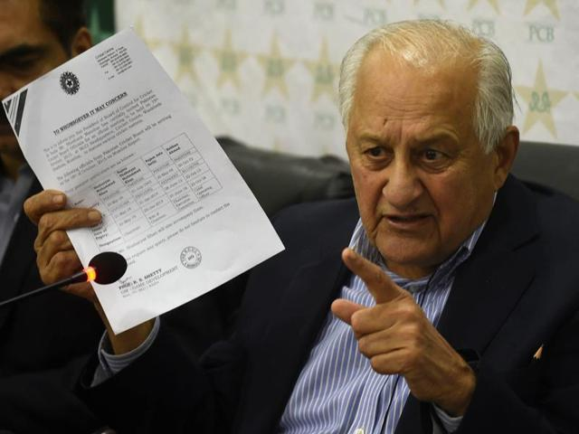 Pakistan Cricket Board (PCB) chairman Shaharyar Khan speaking during a press conference in Lahore on October 21, 2015.