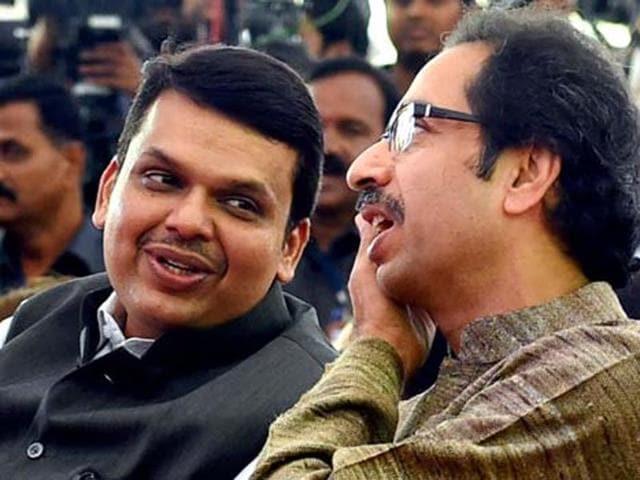 Maharashtra CM Devendra Fadnavis with Shiv Sena chief Uddhav Thackeray.