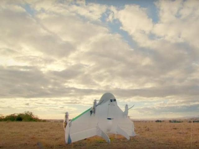 Google's Project Wing drone is seen in this undated demonstration video. REUTERS/Courtesy of Google