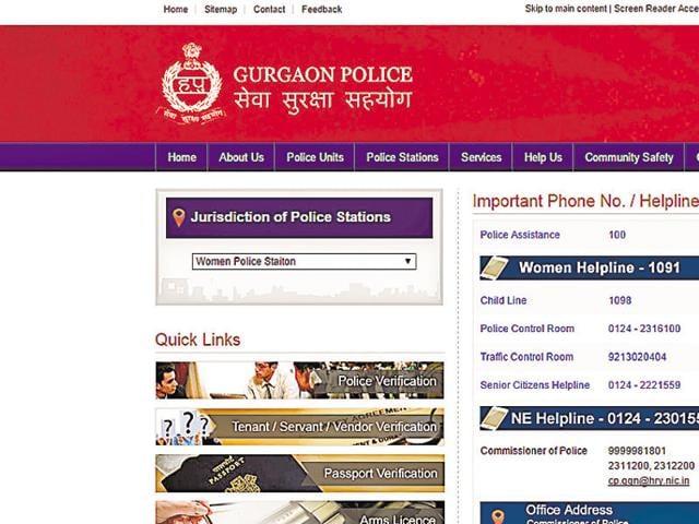 Gurgaon,woman police station,Gurgaon police website
