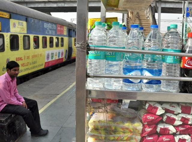 Bottles of drinking water other than Rail neer at railway station in Ludhiana.
