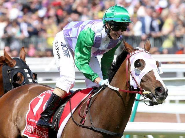 Prince of Penzance ridden by Michelle Payne wins race 7 the Melbourne Cup during the Melbourne Cup race day at Flemington Racecourse in Melbourne, Victoria.