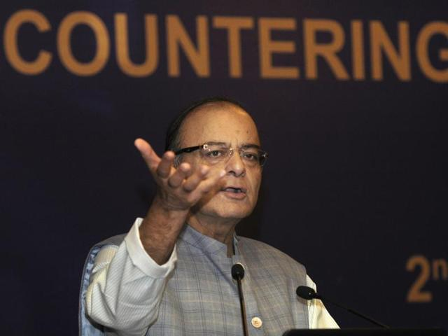 Union finance minister Arun Jaitley address a conference in New Delhi.