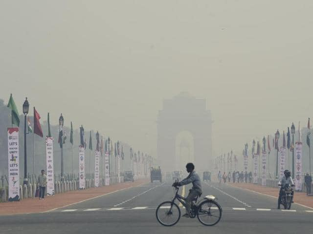 The Rashtrapati Bhawan gets hazy because of the smog. Delhi's location means that its air quality is routinely affected by dust storms in Rajasthan and open burning in neighbouring states.
