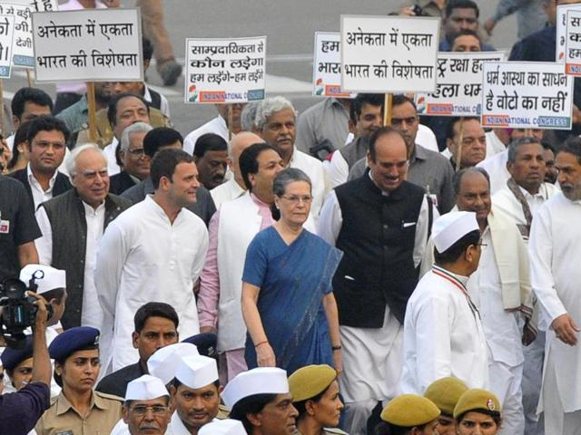 The march, which began around 4.30pm on Tuesday, was led by Sonia Gandhi and included party vice-president Rahul Gandhi, members of the Congress Working committee, party office-bearers and party MPs.