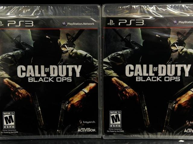 This file photo shows copies of the then highly-anticipated video game