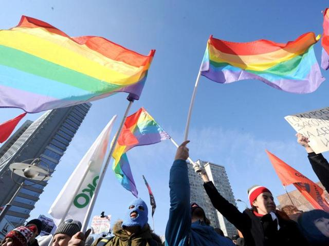 Gay rights activists take part in a rally. AFP