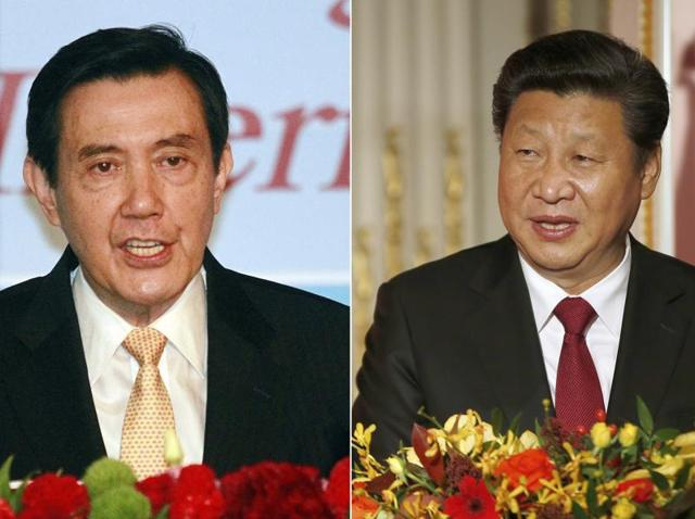 Taiwan's President Ma Ying-jeou, left, and China's President Xi Jinping. Ma and Xi will meet in Singapore for the first time since civil war divided their lands 66 years ago.