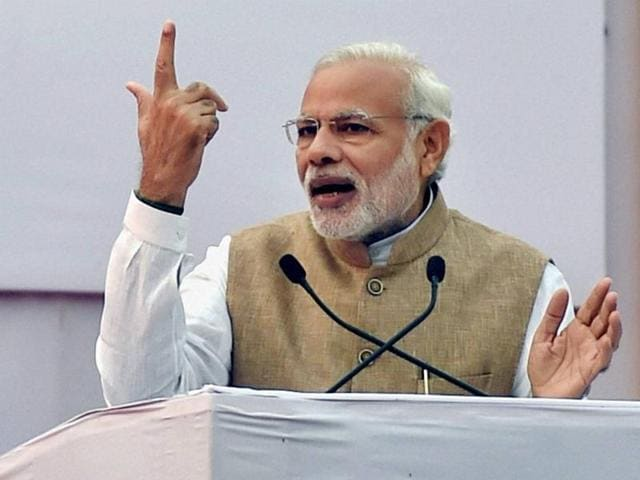 File photo of Prime Minister Narendra Modi addressing  an election rally in Bihar.