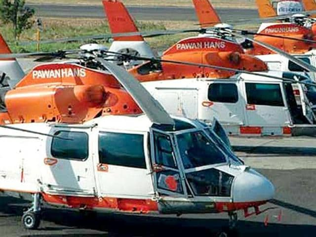 Photo of  Pawan Hans helicopters. A helicopter with two people on board went missing off Bombay High on Wednesday, November 4, 2015. (Photo: Pawan Hans official site)
