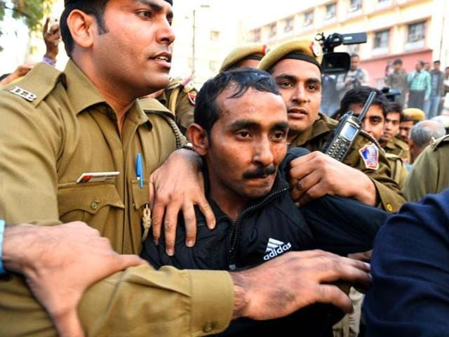 Uber Rape Case convict cab driver Shiv Kumar comes out after being sentenced to life imprisonment, at Tis Hazari Court, in New Delhi, India, on Tuesday, November 3, 2015.