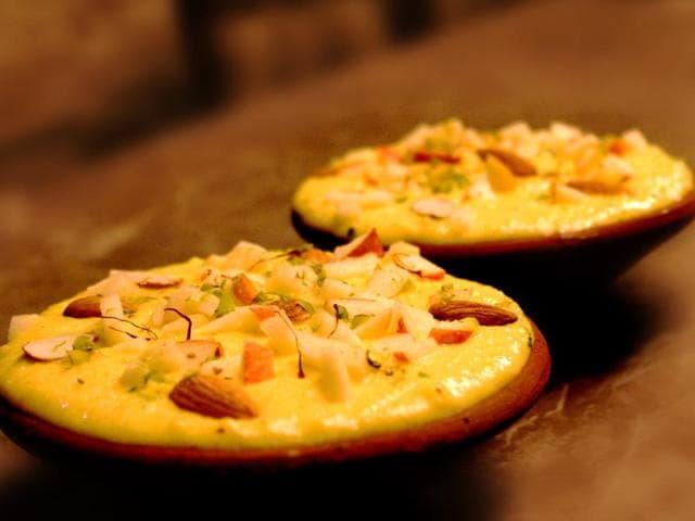 Seven-layered dessert for Diwali has layers of mava barfi, masala chai ganache, mahim halva, pista sponge, saffron mousse and white chocolate