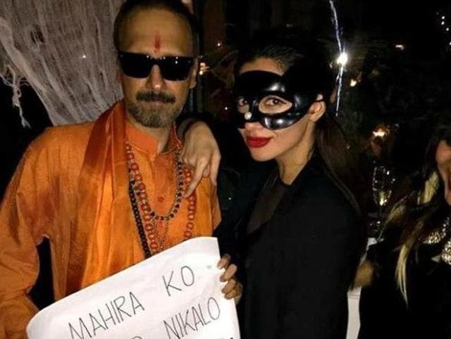 The controversial picture: Mahira Khan at a Halloween party with a man dressed as Shiv Sainik. party.