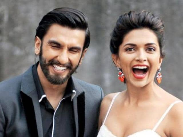 Ranveer Singh and Deepika Padukone at a promotional event for Bajirao Mastani.
