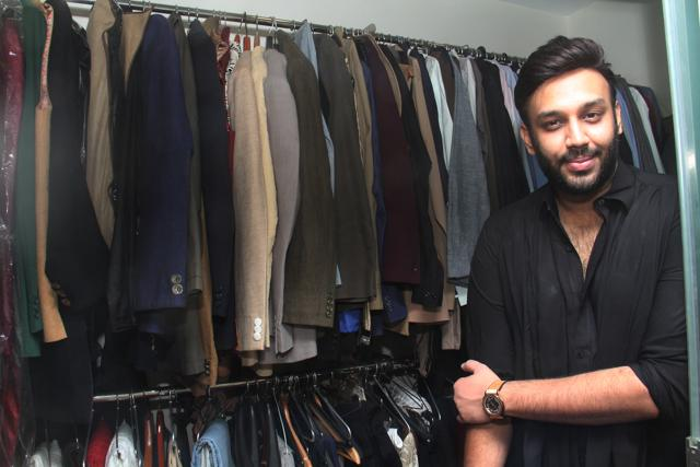 Nikhil Thampi's love for fashion is evident  as a long rack bursts with jackets, vests and blazers when we enter his walk-in closet