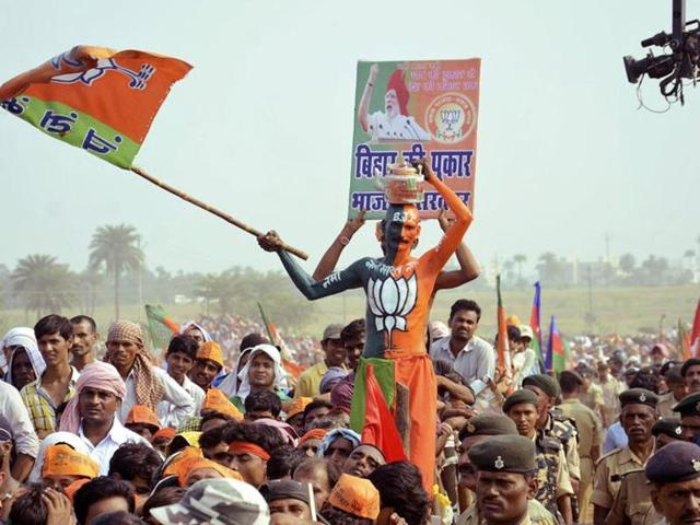 File photo of a BJP election rally in Bihar. Polling for the fifth and final phase of assembly elections in the state ended on Thursday, November 5, 2015 and counting will take place on November 8.