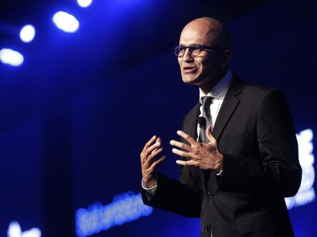 Microsoft CEO Satya Nadella delivers his keynote address during an event in Mumbai. Nadella promised to support India's e-commorce start-ups by partnering with those aligned to smart cities.