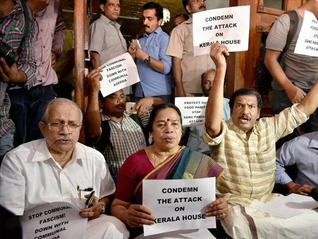 MPs from Kerala hold a protest inside Kerala House, after activists entered the premises after the Delhi Police raided it. The raid has been deemed illegal by a government probe.