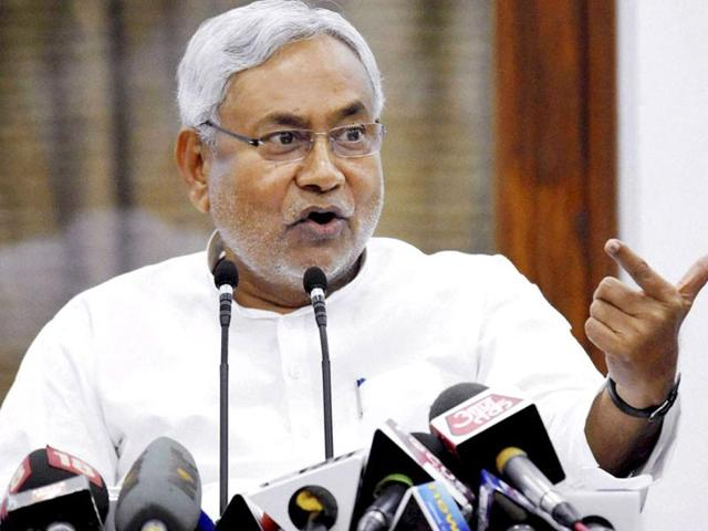 File photo of Bihar chief minister Nitish Kumar addressing a press conference in Patna.