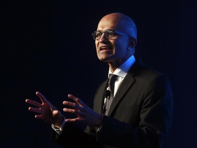 Microsoft CEO Satya Nadella delivers his keynote address during an event in Mumbai.