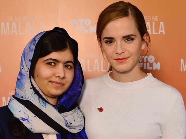 Malala and Emma Watson at the premiere.