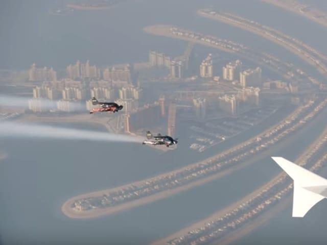 Yves Rossy and Vince Reffet  flying alongside the Jumbo Jet.(Youtube grab)