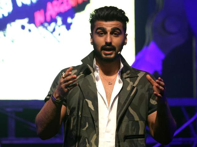 Bollywood actor Arjun Kapoor talks during a promotional event in Mumbai.
