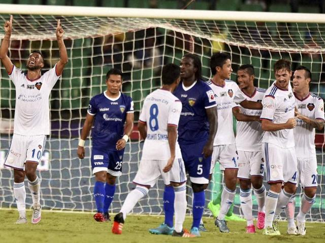 FC Goa players celebrate the team's second goal against Chennaiyin FC during the ISL match at Jawaharlal Nehru Stadium in Chennai on November 5, 2015.