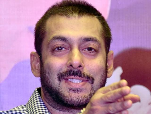 Bollywood actor Salman Khan gestures during a press conference for the promotion of his upcoming film Prem Ratan Dhan Payo.