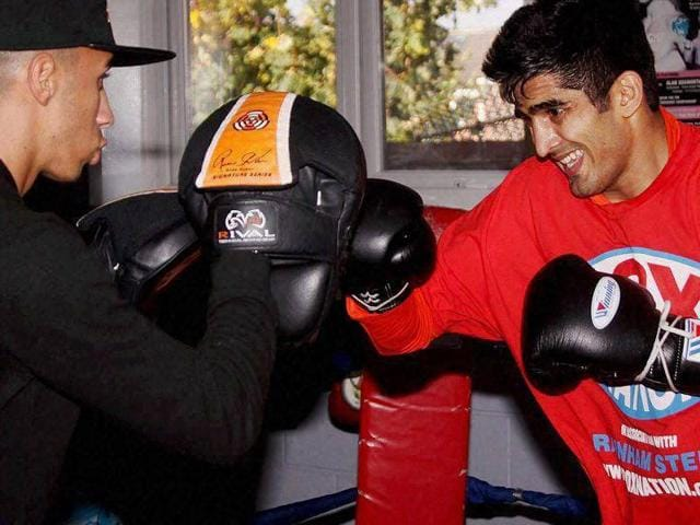 Vijender Singh trains at a gym for his second professional bout in Dublin on Thursday.