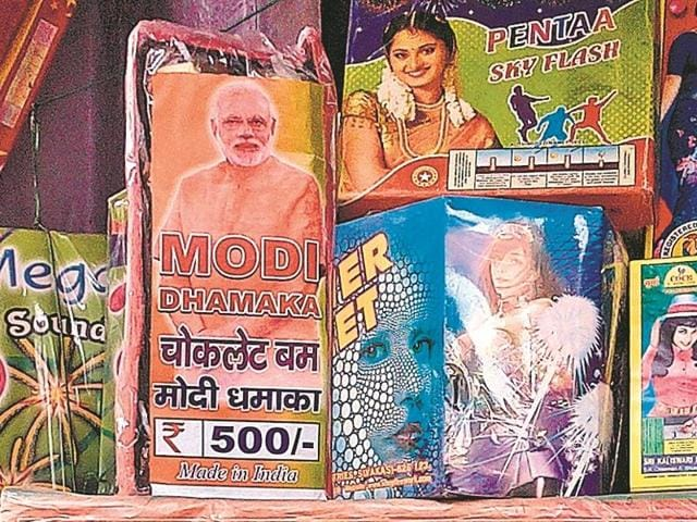 Party workers and supporters of the BJP-led NDA, confident of victory on Sunday, are leading the way in purchasing anything with the Modi name on it – from Modi rockets and bombs to Modi chakris and phuljharis (sparklers).