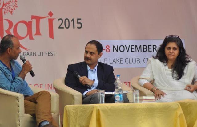 (From left)  Mahesh Rao, Anupam Srivastava and Teesta Setalvad at the Lit fest  in Chandigarh.