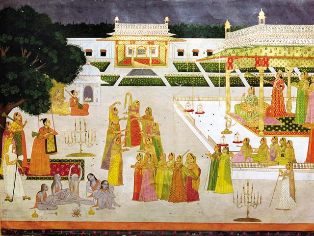 Royal rituals: A Mughal princess and her ladies celebrate Diwali in a palace garden with yogis and yoginis. (Photo by CM Dixon/Print Collector/Getty Images)
