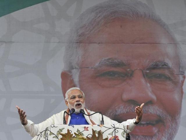 Prime Minister Narendra Modi addresses a rally at Sher-e-Kashmir stadium in Srinagar.