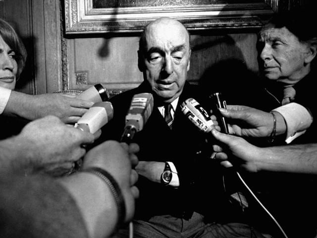 Pablo Neruda, poet and then Chilean ambassador to France, talks with reporters in Paris after winning the 1971 Nobel Prize for Literature. Chile's government is acknowledging that Neruda might have been killed after the 1973 coup that brought Gen Augusto Pinochet to power.