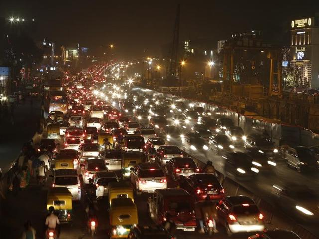 Traffic jam at South-Extension market area in New Delhi on Saturday.