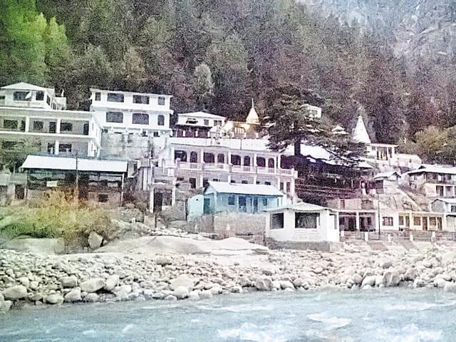 An evening view of Gangotri town in Uttarkashi district.