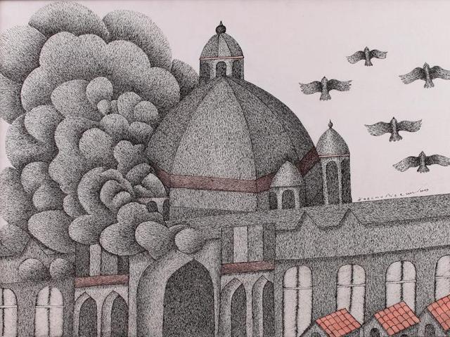 Gond artist Venkat Raman Singh Shyam assiduously stroked Smoking Taj.(Must Art Gallery)